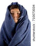unwell young teenage boy... | Shutterstock . vector #710073034