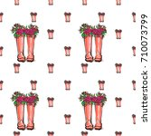vector pink wellies with roses... | Shutterstock .eps vector #710073799