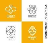 set of retro vintage honey and... | Shutterstock .eps vector #710074765