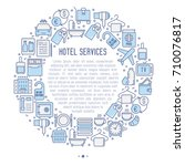 hotel services concept in... | Shutterstock .eps vector #710076817