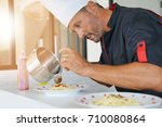 chef in private kitchen... | Shutterstock . vector #710080864