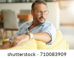 handsome mature man with... | Shutterstock . vector #710083909