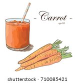 carrot juice with carrot bunch... | Shutterstock .eps vector #710085421