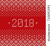 new year 2018. winter holiday... | Shutterstock .eps vector #710092591