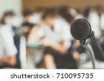 microphone voice speaker with... | Shutterstock . vector #710095735