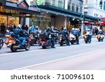 Small photo of SYDNEY, AUSTRALIA. - On September 14, 2012. - A group of Caravan touring by big motorbike staying on a traffic on George St. near Queen Victoria building.