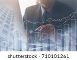 stock data analyzing  double... | Shutterstock . vector #710101261