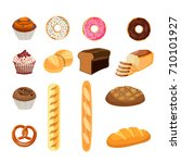 bakery shop vector icons. baked ... | Shutterstock .eps vector #710101927