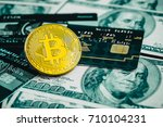 golden bitcoin with credit card ... | Shutterstock . vector #710104231