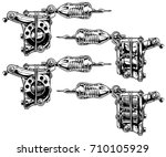 graphic detailed black and... | Shutterstock .eps vector #710105929