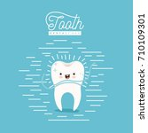 kawaii caricature clean tooth... | Shutterstock .eps vector #710109301