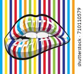 open mouth with color striped... | Shutterstock . vector #710110579