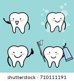 vector set of healthy tooth   | Shutterstock .eps vector #710111191