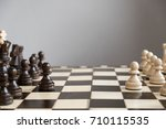 wood chess piece knight on...   Shutterstock . vector #710115535