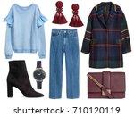 fashionable women's clothing... | Shutterstock . vector #710120119