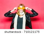 smiling model with stylish hair ... | Shutterstock . vector #710121175