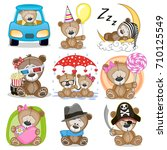 Stock vector set of cute cartoon teddy bear on a white background 710125549