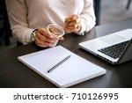 close up of businesswoman... | Shutterstock . vector #710126995
