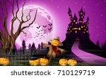 vector illustration of scary... | Shutterstock .eps vector #710129719
