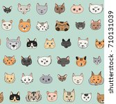 cats faces cartoon doodle... | Shutterstock .eps vector #710131039