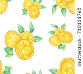 orange slices with leaves on... | Shutterstock . vector #710131765