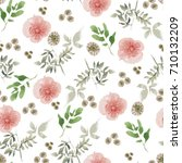 seamless floral pattern with... | Shutterstock . vector #710132209