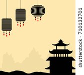 chinese style background with... | Shutterstock .eps vector #710132701