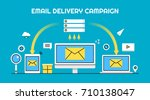 email delivery  email marketing ... | Shutterstock .eps vector #710138047