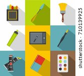 drawing tools icon set. flat... | Shutterstock .eps vector #710139925