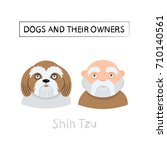 dogs and owners look alike.... | Shutterstock .eps vector #710140561