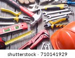 Set Of Tools On Wooden...