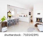 fancy living room with... | Shutterstock . vector #710142391