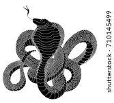 snake cobra tattoo style.cobra...   Shutterstock .eps vector #710145499