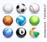realistic sports balls vector... | Shutterstock .eps vector #710146117