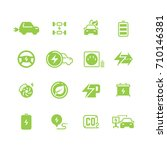 electrical charge symbols and... | Shutterstock .eps vector #710146381