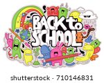 cute hand drawn school related... | Shutterstock .eps vector #710146831