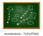 kite drawing on blackboard   Shutterstock .eps vector #710147065