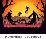 silhouette of evil spirit...   Shutterstock .eps vector #710148925