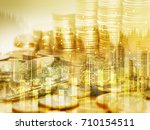 gold money coin stack and dot... | Shutterstock . vector #710154511