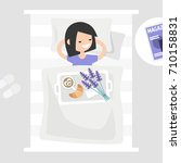 breakfast in bed. top view.... | Shutterstock .eps vector #710158831