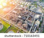 aerial view of twilight of oil...   Shutterstock . vector #710163451