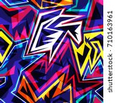 graffiti bright psychedelic... | Shutterstock .eps vector #710163961