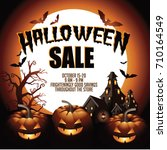 halloween sale background with... | Shutterstock .eps vector #710164549