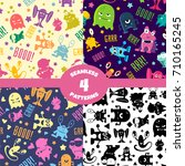 seamless patterns set with cute ... | Shutterstock .eps vector #710165245