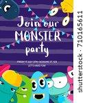 vector monster party invitation ... | Shutterstock .eps vector #710165611