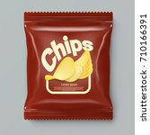 realistic red chips package... | Shutterstock .eps vector #710166391