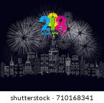 happy new year 2018 written...   Shutterstock .eps vector #710168341