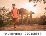 one young man  running  runner  ... | Shutterstock . vector #710168557