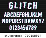 distorted glitch font.... | Shutterstock .eps vector #710168914