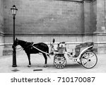 horse and cart in black and... | Shutterstock . vector #710170087